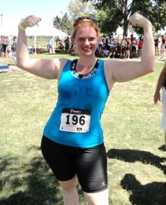 Carmen: after finishing her 1st triathlon!